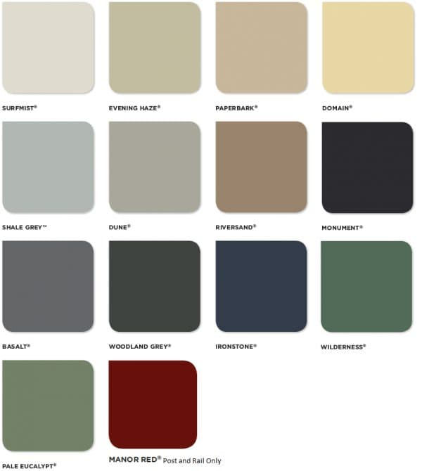 swatch of Colorbond colours for fencing