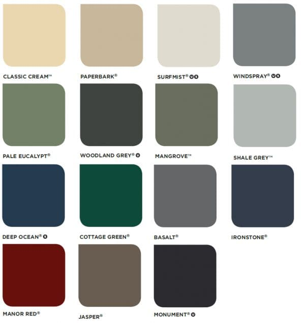 Colorbond colour swatch for roof sheeting